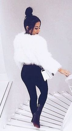 #winter #outfits white fur coat