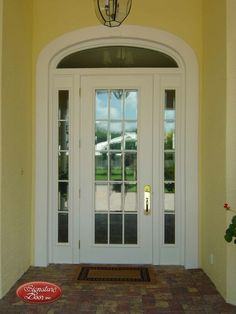 SIG-Series Front Door with Sidelites and Elliptical-Transom The Doors, Entry Doors, Entrance, Front Doors, House Front Door, Glass Front Door, Custom Wood Doors, Enclosed Porches, Transom Windows