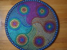 Mosaic Table Top Wave Patterns | Mosaic Mandala Table SALE 25 PERCENT OFF by TotoloStudio on Etsy