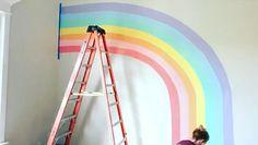 Mural painted by Rainbow Room Kids, Rainbow Bedroom, Rainbow House, Girls Room Paint, Girls Bedroom Ideas Paint, Girls Bedroom Colors, Room Wall Painting, Painting Kids Rooms, Mural Painting