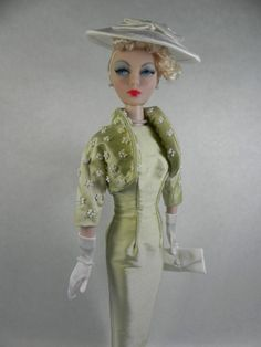 Pale Green Silk Dress with Jacket for Gene Doll and Friends OOAK by Judy  Owens 64ec5ba25