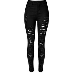 Yoins Skinny Jeans With All-Over Shredded Rips (€28) ❤ liked on Polyvore featuring jeans, pants, bottoms, calça, black, high waisted distressed jeans, ripped skinny jeans, high-waisted jeans, super skinny jeans and super high-waisted skinny jeans