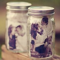 These mason jar photo frames.