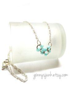 Something Blue Necklace  Bridal Jewelry  Wedding by GinnysJunk, $20.00