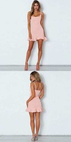 Prom Dresses Ball Gown, Mermaid Spaghetti Straps Pink Short Prom Homecoming Dress with Flounce, from the ever-popular high-low prom dresses, to fun and flirty short prom dresses and elegant long prom gowns. Hoco Dresses, Prom Party Dresses, Sexy Dresses, Cute Dresses, Casual Dresses, Summer Dresses, Formal Dresses, Wedding Dresses, Simple Homecoming Dresses