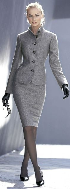 Gray Skirt Suit Sheer Black Pantyhose and Black High Heels