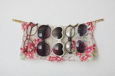 Store your Sunglasses on a Wall attached Ribbon - Top 58 Most Creative Home-Organizing Ideas and DIY Projects