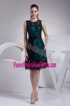 Sexy Scoop Teal and Black Bridemaid Dress for Summer Wedding with Bowknot