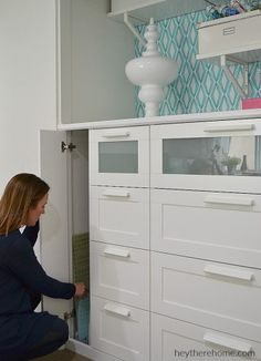 IKEA HACK how to turn a standard closet into a built in cabinet for craft storage using IKEA dressers Ikea Craft Room, Craft Room Storage, Closet Storage, Craft Rooms, Kitchen Storage, Wardrobe Storage, Paper Storage, Craft Organization, Ikea Closet Hack
