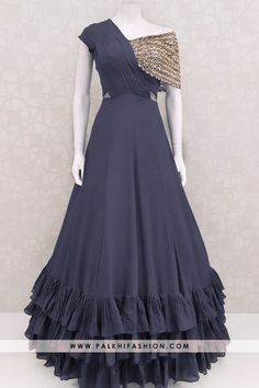 Designer Navy Blue Colored Indian Outfit With Elegant Work & Style Palkhi fashion presents navy blue very soft silk indian designer outfit from palkhi fashion.sequin embroidered & stone work with ruffle layer concept Party Wear Indian Dresses, Designer Party Wear Dresses, Indian Gowns Dresses, Indian Bridal Outfits, Dress Indian Style, Indian Fashion Dresses, Indian Designer Outfits, Designer Wear, Lehenga Choli Designs