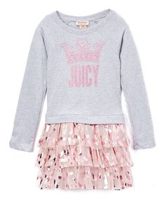 Juicy Couture Gray & Pink Logo Ruffle Dress - Infant, Toddler & Girls by Juicy Couture #zulily #zulilyfinds