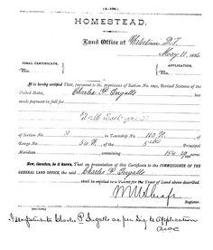 Charles Ingalls land claim Homestead papers for De smet.  Good for ephemera on Laura Ingalls Wilder trip page