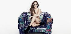 lady gaga with 'binary collection' furniture by benjamin rollins caldwell / BRC designs