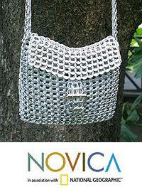 Silver Pop-Top Shoulder Bag, Silver Success (Long Strap) at The Animal Rescue Site CROCHETED POP-TOPS ;OMED