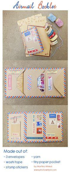 Snail mail - DIY airmail booklet using envelopes Pen Pal Letters, Pocket Letters, Snail Mail Pen Pals, Snail Mail Gifts, Paper Pocket, Art Carte, Fun Mail, Envelope Art, Mini Books