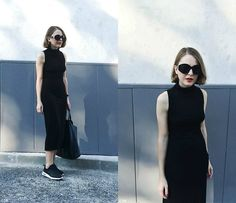 Get this look: http://lb.nu/look/8034448  More looks by Trini Gonzalez: http://lb.nu/trinig  Items in this look:  The Row Sunglasses, The Reformation Dress, Daniel Wellington Watch, Celine Bag, Nike Sneakers   #casual #classic #minimal #black #nike