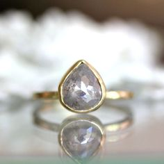 Reserve Listing for M - Teardrop White Gray Diamond in 14K Yellow Gold Engagement Ring - Ready to Ship