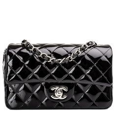 Chanel Black Quilted Patent Classic 2.55 Flap Bag |... (12.940 BRL) ❤ liked on Polyvore featuring bags, handbags, chanel, purses, chanel bags, quilted flap bag, handbags purses, patent leather purse and quilted hand bags