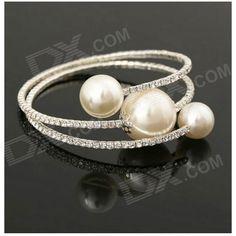 25% OFF! FD-70 Women's Stylish Rhinestone-studded Pearl Bracelet - White + Silver #madeinchina #bracelet >http://dxurl.com/RudI