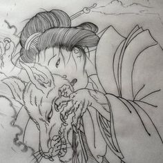 Kitsune Sketch For An Upcoming Anese Tattoo By Tim Dywelska Timdywelska