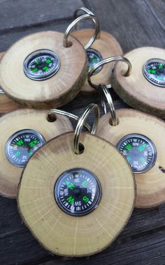 Compass keyrings wooden keyrings wood key ring by CottageCoppicing