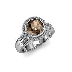November's lovely glow - Smoky quartz #Halo #engagementring #birthstone #prongset #love #finejewelry #trijewels