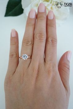 1.5 carat 7mm Solitaire Engagement Ring Round by TigerGemstones