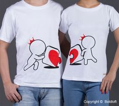 """Cute Christmas Gifts for Boyfriend or Husband- BoldLoft """"Incomplete Without You"""" His and Hers Couple Shirts. Show him he is the missing part of your life with this Christmas gift for him."""