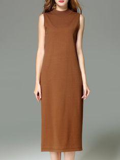 Shop Midi Dresses - Camel Sleeveless Plain Shift Polyester Midi Dress online. Discover unique designers fashion at StyleWe.com.