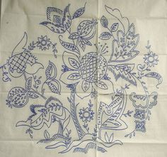 VINTAGE EMBROIDERY TRANSFER - LARGE ROUND JACOBEAN MOTIF