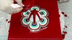 (437) Cup bottom pour on red background ~ Reverse flower dip ~ Flower sh...