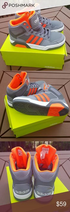 Adidas NEO Onix Sorang Grey Orange Gray White Brand new in box Adidas NEO in Orange Gray and White. Fits a woman's size 7 adidas Shoes Sneakers