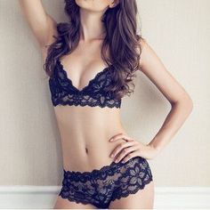 Sexy Backless Lace Hollow Strap Underwear Lingerie Set
