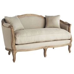 Living Room: Linen European Furniture - Natural Linen Settee