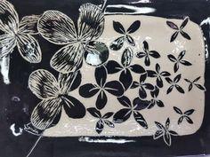 Black and white sgraffito platter