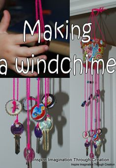 Today we have made a wind chime by up-cycling some keys and bottle tops. It sounds wonderful!