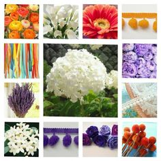 For my bouquet, hydrangea, lavender, stephanotis, gerbera daisy, peony, ranunculus, calla lily, billy button, ribbons, and pompom trim