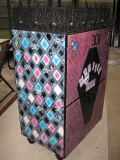 So my grand-daughters wanted a Monster High Doll house and I wanted it to match the room I'm decorating for them so this is what I came up with.