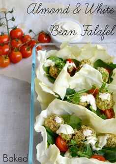 Almond & White Bean Falafel with Hummus-Yoghurt Dressing. Super healthy and delicious. #vegetarian