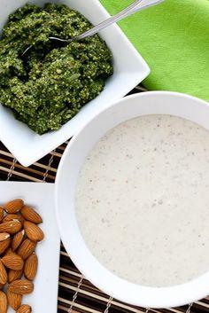 Garlic-Almond Soup with Basil-Almond Pesto -- http://www.PerrysPlate.com