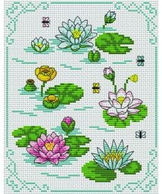 Lake lily. Tons of FREE CROSS-SITCH PATTERNS at this site: just found a site that has really easy to download embroidery patterns for free. It's http://club-point-de-croix.com/?code_avantage=CWcplRsmji Plus, if you click on this link, http://club-point-de-croix.com/?code_avantage=CWcplRsmji  , you'll automatically receive a gift when you subscribe. I use this site all the time; there are hundreds of all different types of patterns, and there are new patterns added everyday.
