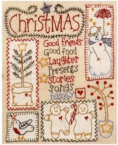 Free Christmas embroidery pattern by Red Brolly. Christmas Embroidery Patterns, Embroidery Patterns Free, Vintage Embroidery, Cross Stitch Embroidery, Embroidery Designs, Crewel Embroidery, Machine Embroidery, Christmas Patterns, Paper Embroidery