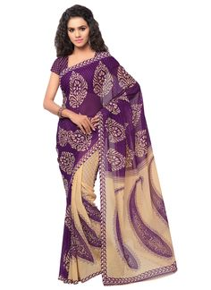 Casual violet colour  printed georgette saree