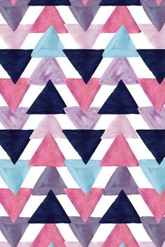 Blue Lagoon Watercolor Triangles By Ivieclothco