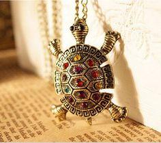 Women vintage lovely Bohemia Turtle multicolor crystal Pendant Necklace Jewelry  #Pendant