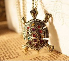 Women vintage lovely Bohemia Turtle multicolor crystal Pendant Necklace Jewelry  #Pendant