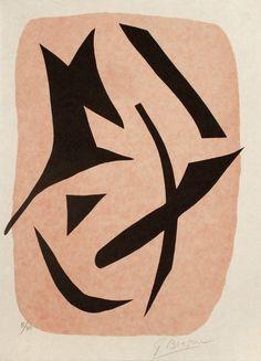 Georges Braque Vol d'Oiseaux Noirs sur Fond Rose