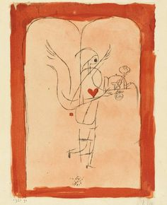 'A guardian angel serves a small breakfast'. Lithograph by Paul Klee at MOMA