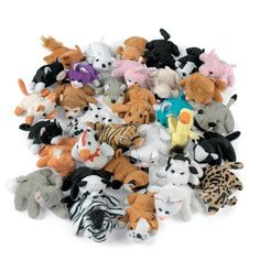 Bulk pack of 50 assorted mini plush animal toys. Discount Party Supplies for all your Animal party supply needs. Safari Party, Safari Theme, Jungle Theme, Circus Theme, Circus Party, Dyi, Plush Animals, Zoo Animals, Stuffed Animals