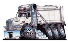 track dump trucks   Semi BIG RIG Dump Truck Cartoon T Shirt 9183 Hauler   eBay